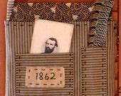 Primitive Folk Art Covered Brown Journal Set or Wall Pocket Civil War Date