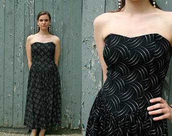 80s Bustier Evening Dress Size S/M