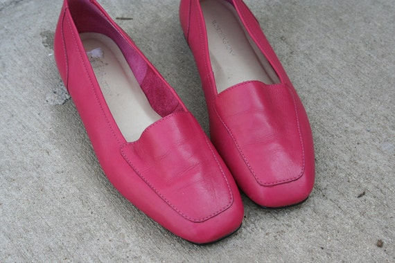 80s Leather Hot Pink Flats Size 7 Euro 37.5