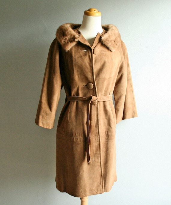 50s Suede Coat  with Mink Collar Size M/L