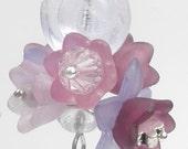 Lavendar and lilac flower earrings -  Sale - Free Shipping