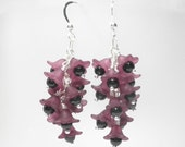bunches of grape purple flower earrings with onyx