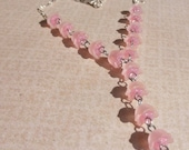 Pink silver flower Y choker 15.5 inches long