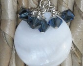 Free ship on clearance white and blue dangle earrings
