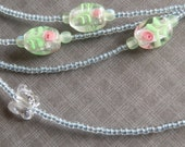Super long blue green yellow pink clear necklace with Lampwork beads and Swarovski crystal butterflies, 75 inches long