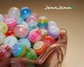 10mm Multi-colored Striped Translucent Acrylic Beads- 45 pcs