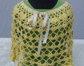 Yellow crocheted boho chic poncho