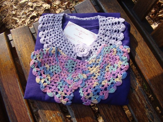 Purple passion surprise crocheted collars and T-shirt set