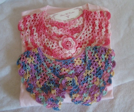 Pink rose multicolored crocheted collars and Tshirt set