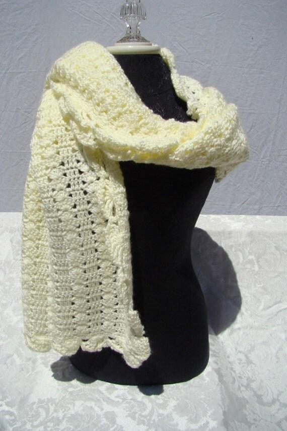 Crochet wrap, vanilla shawl, wedding shawl, bridesmaid accessory