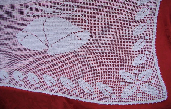 I Heard the Bells on Christmas Day Filet Crocheted Tablecloth