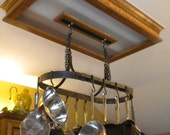 Hanging Pot Rack With 10 Hooks - Hand Forged by a Blacksmith, Iron pot rack, Waxed steel pot rack