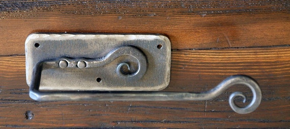 Wall Mounted Iron Toilet Paper Holder. Hand Forged by a Blacksmith.