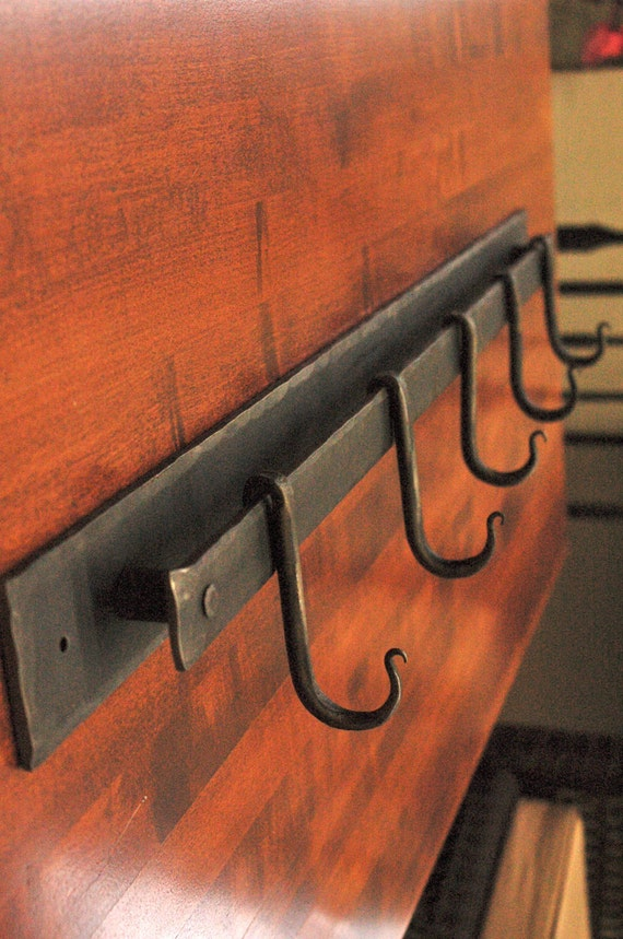 Hand Forged 4 Coat Or Pot Rack 18 Inch