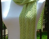 SALE 30% OFF Lace Scarf, cotton, green, Spring, Summer, lightweight, scalloped