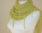 Cotton Lace Shawl/Scarf, Vegan Friendly in Lime with Fringe, Green, Spring, Summer, Sweet November Shawl, Beach Wrap