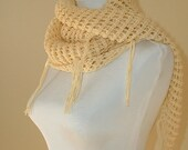 Cotton Lace Shawl/Scarf, Vegan Friendly in Almond with Fringe, Cream, Vanilla, Neutral, Spring, Summer, Sweet November Shawl, Beach Wrap
