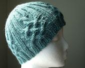 Aran Cable Knit Hat, Skullcap, Ski Hat in Peruvian Highland Wool, Fjord Heather, Misty blue, Ice blue, Turquoise, Water, Irish, Celtic