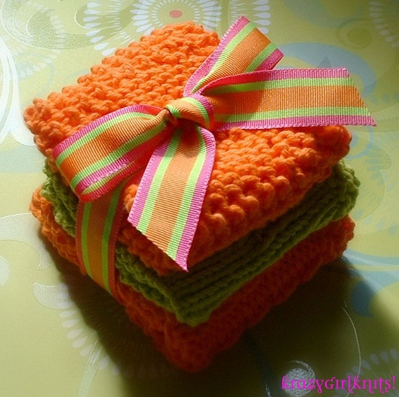Knit Cotton Dishcloth, Washcloth, Orange & Lime Green 3-Pack Kitchen or Bath and Beauty, Housewarming or Hostess Gift
