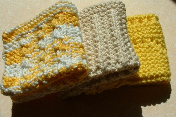 Knit Dishcloths, Cotton, Facecloth, Washcloth 3-Pack Yellow White Cream for Kitchen or Bath & Beauty, Housewarming or Hostess Gift