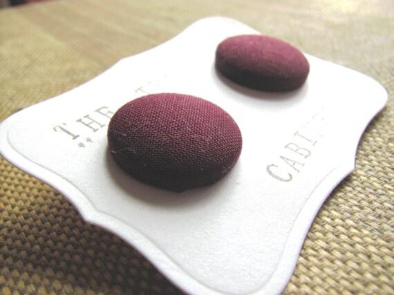 Sale - Plum Purple Button Earrings - Posts