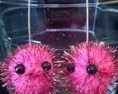Pink Pygmy Puff Earrings