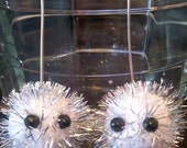 Silver/White Pygmy Puff Earrings