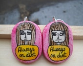 The Rude Collection - Always on Diet Illustrated Earrings