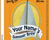 Home Brew Customized Beer Label - Summer Sail