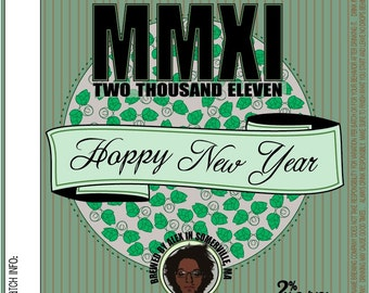 Home Brew Customized Beer Label - Hoppy New Year 2011