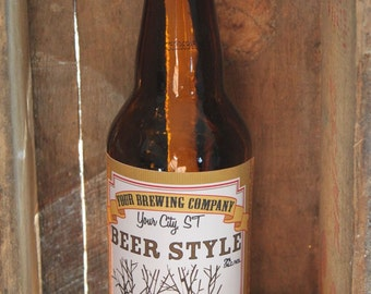 Home Brew Customized Beer Label - Exposed Wood