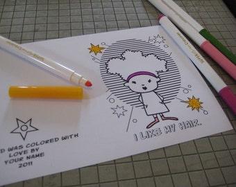 i like my hair - printable, coloring greeting card