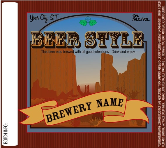 Home Brew Customized Beer Label - Wild West