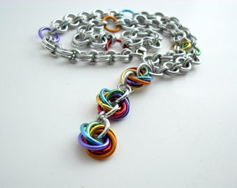 30% OFF SALE True Colors Rainbow Mobius Drop Chainmaille Necklace