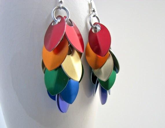 True Colors Rainbow Pride Scale Chandelier Earrings