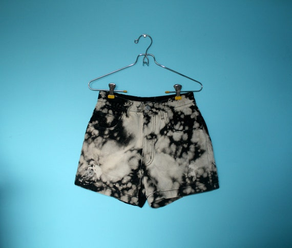 SALE Acid Wash Black and White Vintage GUESS by Georges Marciano Denim Shorts High Waisted SALE
