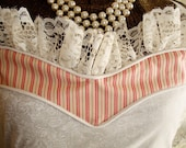 SALE delicate pink and cream french-style hostess apron