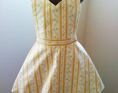 SALE yellow and gold flower princess hostess apron