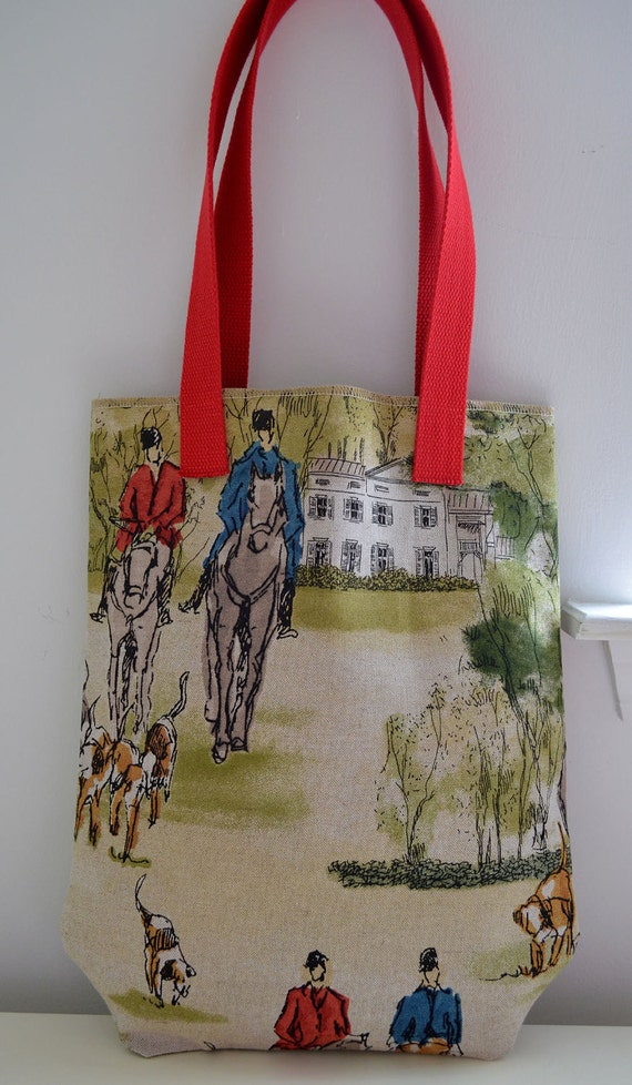 Market Tote Bag in Downton Abbey - horses riding equestrian red blue english countryside manor house