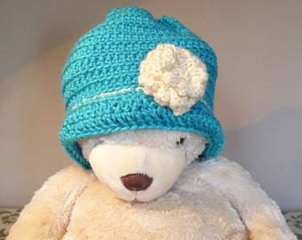 Turquoise Crochet Hat and Scarf