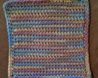 Cotton Washcloth or Dishcloth -Tunisian Stitch in Yellow, Green, Blue, and Pink