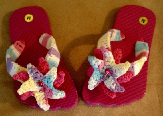 Summer Princess Flip Flops - Hot Pink , Lavender, Aqua, Yellow and Sparkles