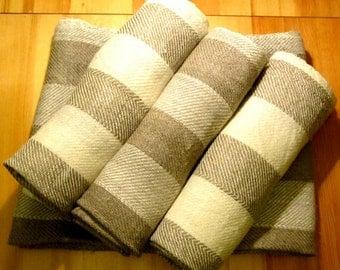 Handwoven Finnish style Linen Sauna Towel, Linen Bath Towel, Natural Stripes