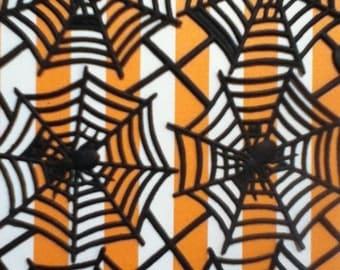3 Black Spider Web Paper Die Cut Scraps Halloween