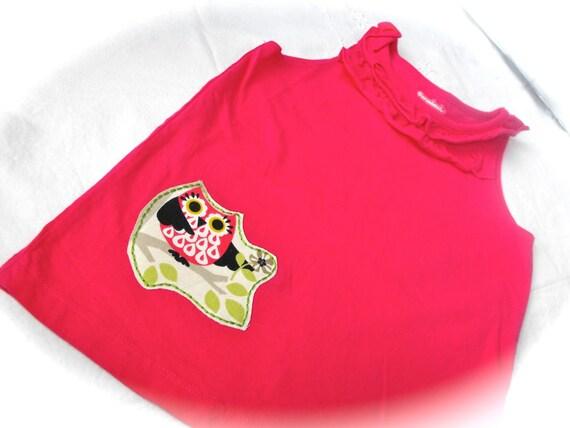 SALE: Girls Size 5T Pink Ruffle Owl Tank
