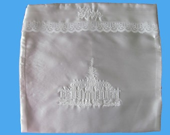 White Satin LDS Temple Clothing Envelope