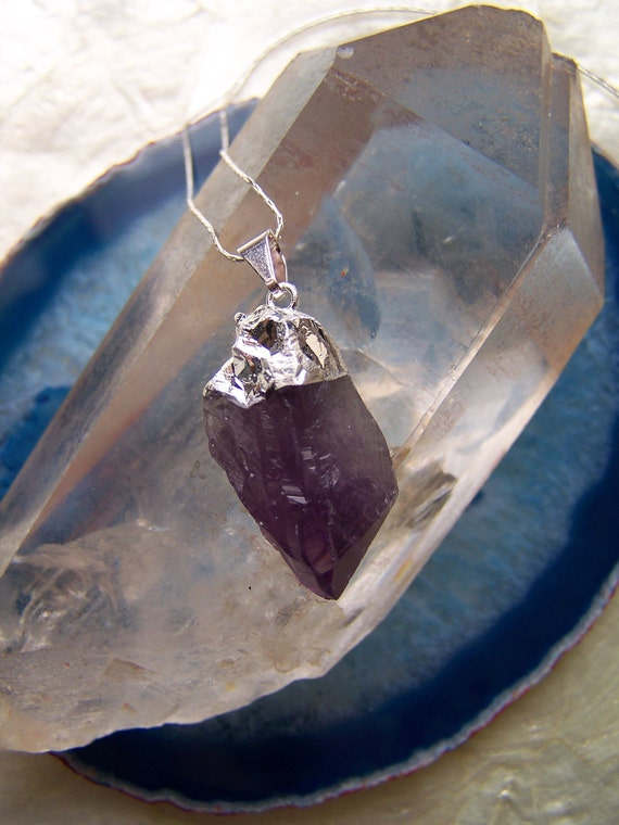 Raw Amethyst Crystal Sterling Silver Necklace - Amethyst Point Pendant - Rough Gemstone