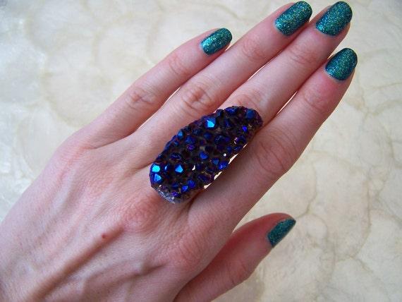 Natural Amethyst Titanium Druzy Ring - Indigo Drusy - Boho Statement Ring