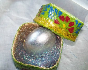 Silver Foil Wooden Egg, in Indonesian Basket