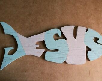 Folk Art Wood Carvlng, JESUS, Sign of the Fish -- 1970s